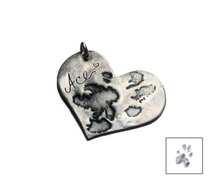 Custom Paw Print Heart Pendant - Ashley Lozano Jewelry