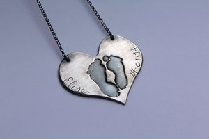 Custom Baby Footprint Necklace - Ashley Lozano Jewelry