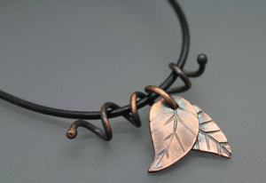 Copper Leaf Necklace - Ashley Lozano Jewelry
