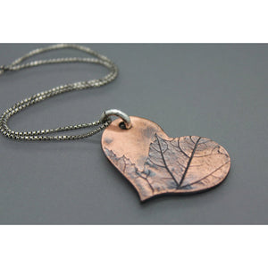 Leaf Imprinted Copper Heart Pendant On Silver Chain - Ashley Lozano Jewelry
