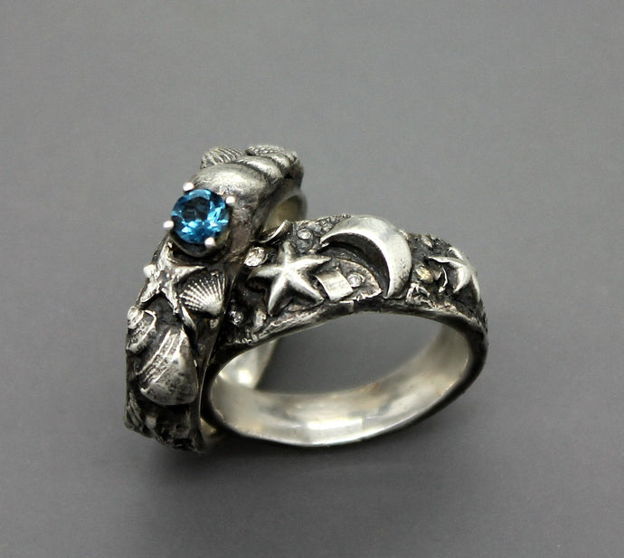 Silver Ocean Beach Ring With Blue Topaz - Ashley Lozano Jewelry