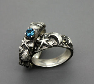 Silver Star And Moon Ring With Diamond Accents - Ashley Lozano Jewelry