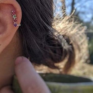 Cartilage Earring / Climber with Family Birthstones - Ashley Lozano Jewelry