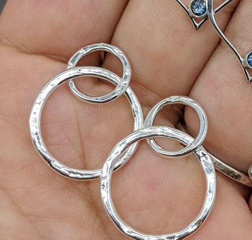 Double Circle Sterling Silver Post Earrings