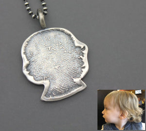 Custom Silver Silhouette Necklace With Fingerprint - Ashley Lozano Jewelry