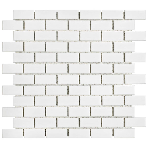 mini subway tile white ceramic 1x2 inch mosaic for kitchens and baths