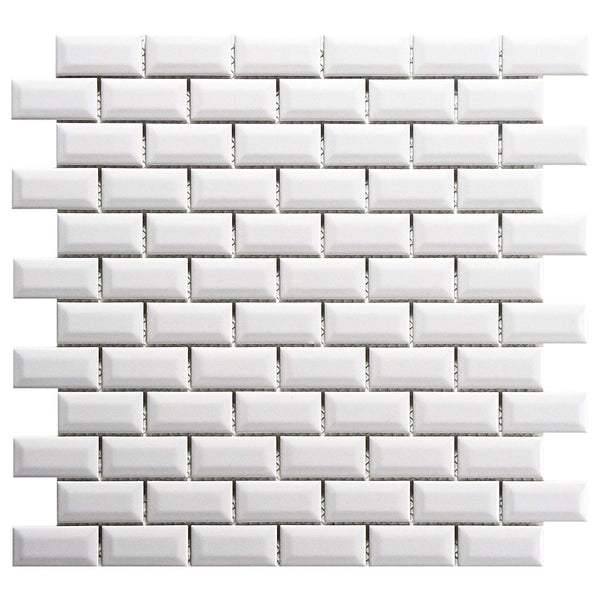 mini subway tile beveled white ceramic mosaic 1x2