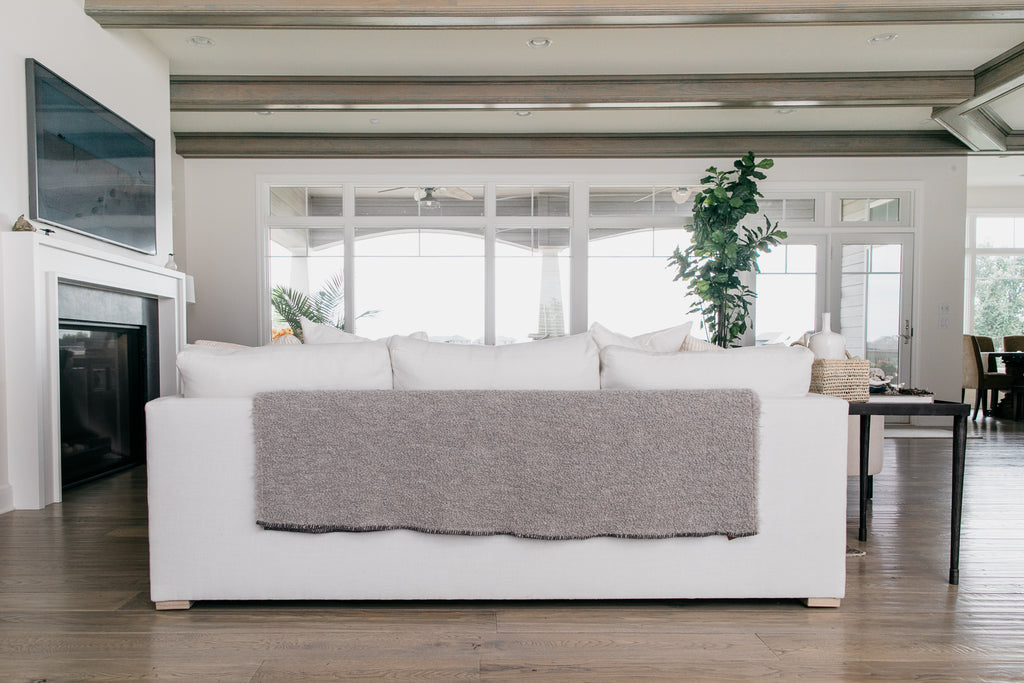 The Kurlisuri Alpaca Throw from Uniquity in Belgium goes gorgeously well with any Verellen sofa, especially this Thibaut sofa in white denim and these soft pillows.
