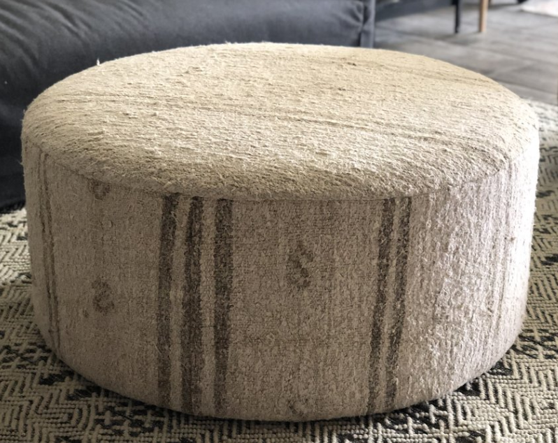 Hemp Upholstered Ottoman One-of-a-kind textile