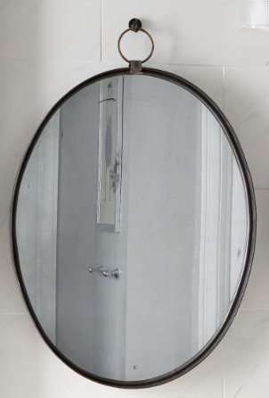 oval mirror iron black hanging from hook powder bathroom