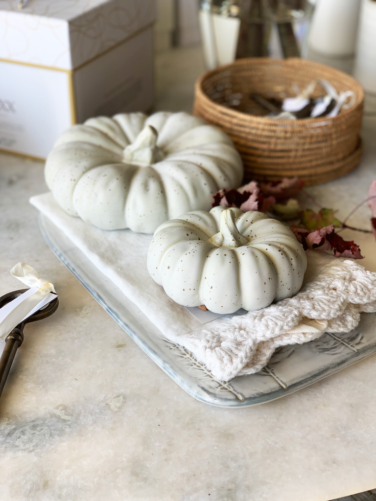 We gravitated towards a neutral and earthy palette for our Fall decor. These ceramic pumpkins will make transitioning to the holiday season so easy.