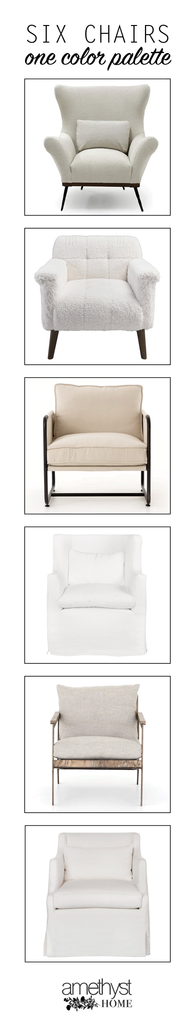 We love helping our wonderful clients design their homes, and often it all comes down to the chairs! There are so many seating options out there, so we try to spotlight the lines, comfort, and style of each chair we select - leaving color/fabric/leather selection for later. Here are a few of our favorite chairs, all shown in a simple neutral palette, to help spotlight the chair itself!
