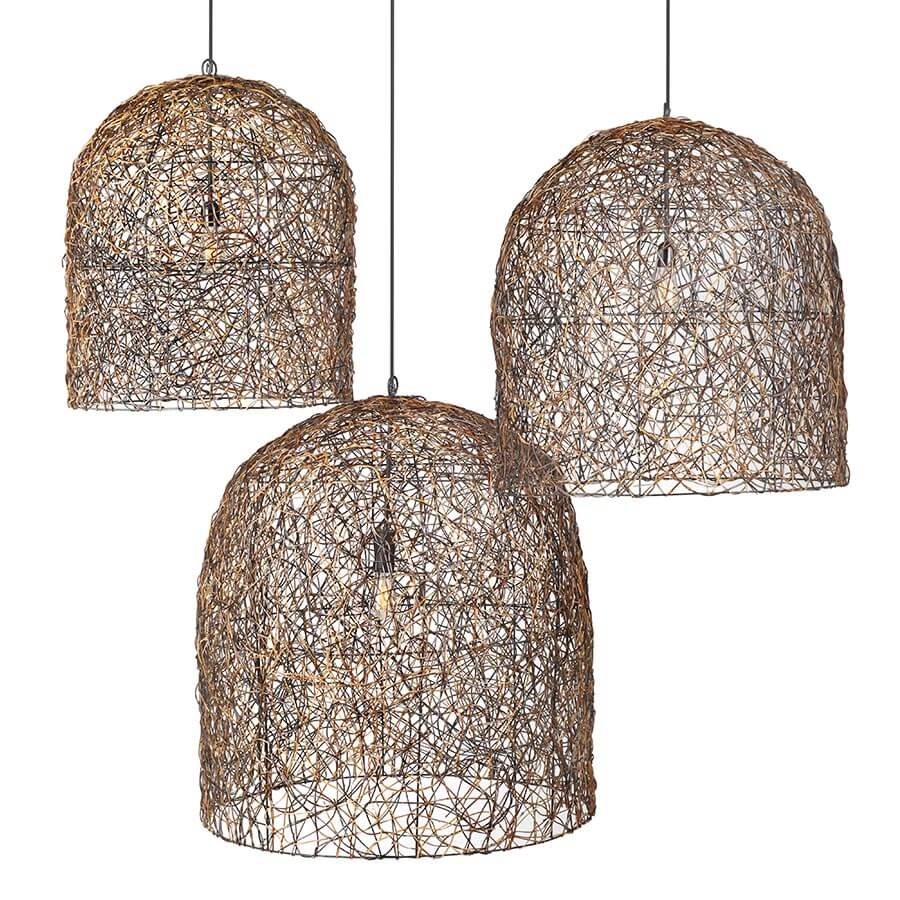 This funky Nito vine ceiling pendant with canopy adds texture to any room. Wrapping around a metal frame, Nito Vines (Lygodium circinatum) is a plant belonging to the fern family that grows abundantly in the hinterlands of Mindanao in Southern Philippines.