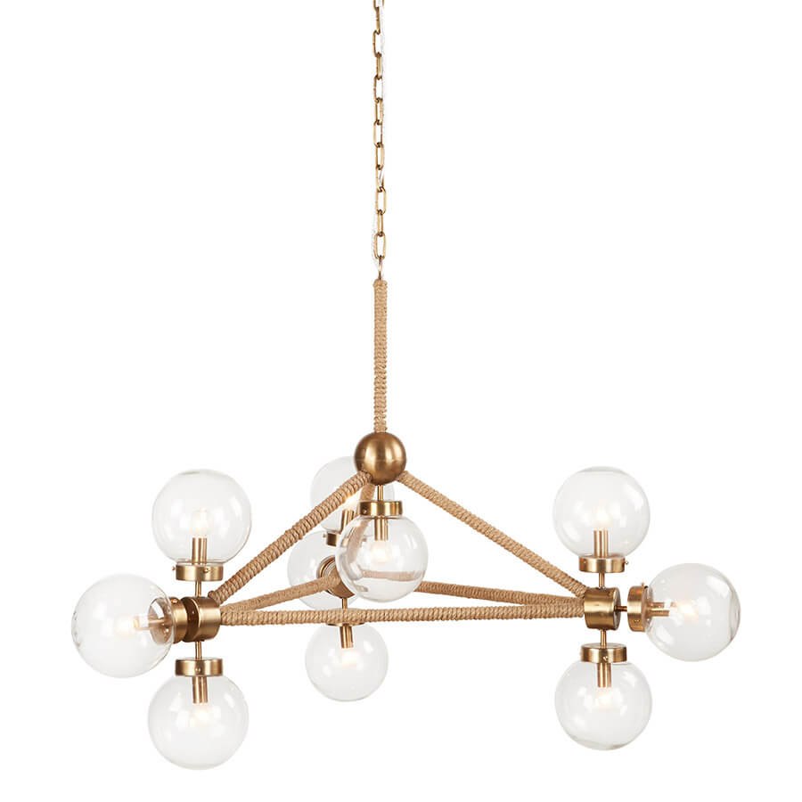 "The Rope Globe Chandelier hangs like a work of fine art. Its geometric structure and unusual glass ball lights give the chandelier its art deco look. The fixture is made of a sturdy iron wrapped in three strand rope and finished in an industrial brass color. The chandelier and hangs by a discrete brass chain that can be installed anywhere in the home. This chandelier holds a max of 10 Type B 10W bulbs.  Size: 28""w x 31""d x 36""h Cord length: 6'"