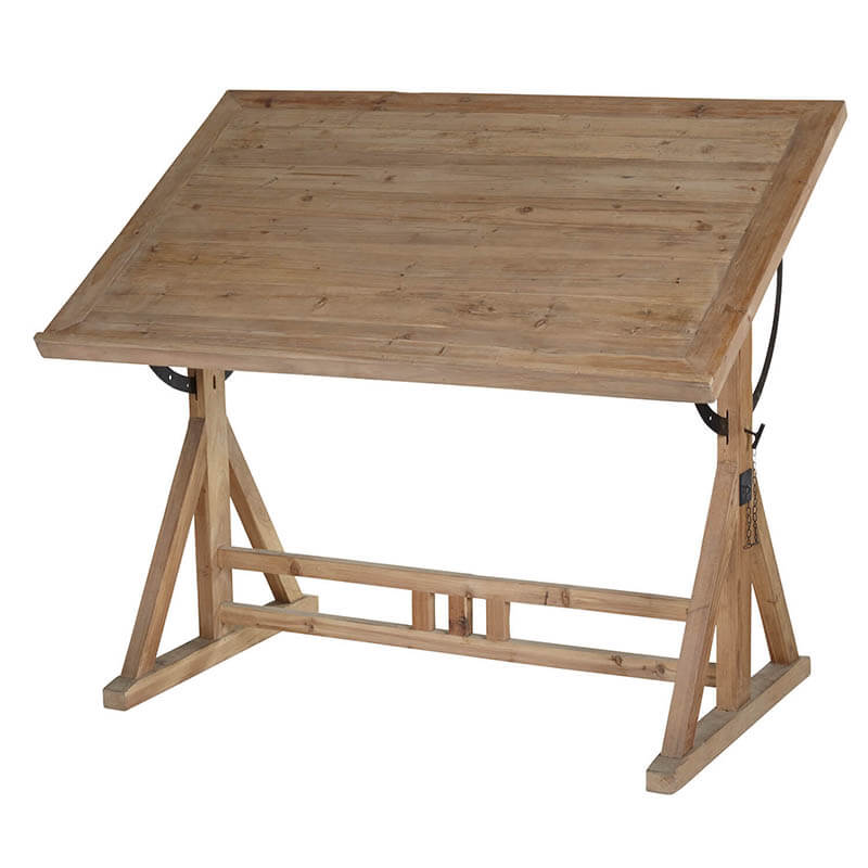Wood Drafting Table - Amethyst Home