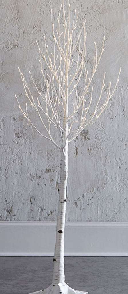 holiday decor, holiday tree, birch tree, twinkling lights, decorative birch tree