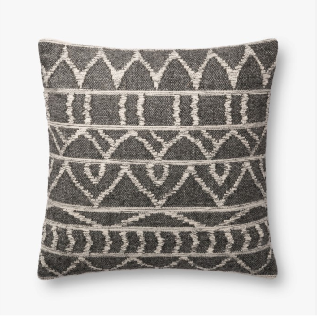 "Charcoal Woven Pillow - Amethyst Home A charcoal woven pillow beautifully patterned to fit with any decor.  Cotton / Polyester / Wool  Includes down insert.  22""x22""  *Shipping mid-February"