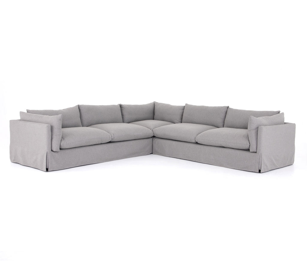 "Loungey, slipcovered sofa made for modern living with this Habitat Vesuvio Dove Sectional. Shelter arms and pillow-inspired cushions are covered in extraordinarily comfortable, durable fabric.  Size: 122""w x 40""d x 31""h Seat Depth: 27.5"" Seat Height: 17.75"" Arm Height from Seat: 9.75"""