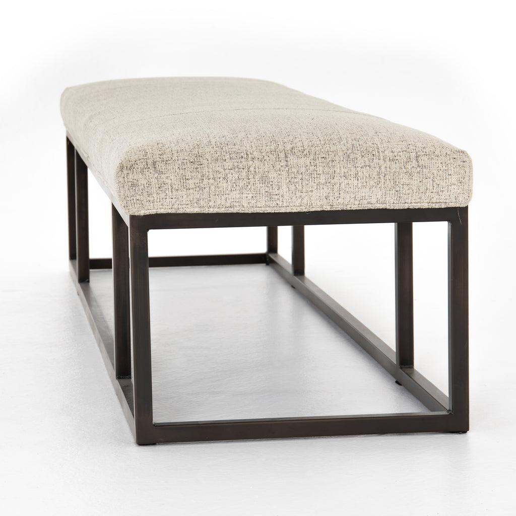 "The Beaumont Plushtone Linen Bench has streamlined shaping and is textural to the touch. Gunmetal-finished iron framing stands slim and structured to support a well-tailored top of plush, linen-like upholstery. Open, adaptable styling allows for versatile placement options.  Size: 72""w x 20""d x 17""h"