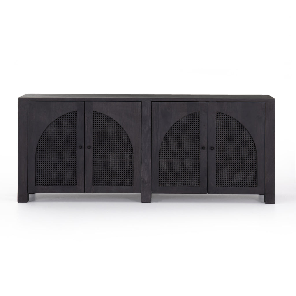 "We love the textural cane door panels of the Tilda Black Wash Mango Sideboard. Store all your media needs while also adding a beautiful, monochromatic vibe to the room  Size: 78""w x 18""d x 33""h Materials: Solid Mango, Iron, Cane"