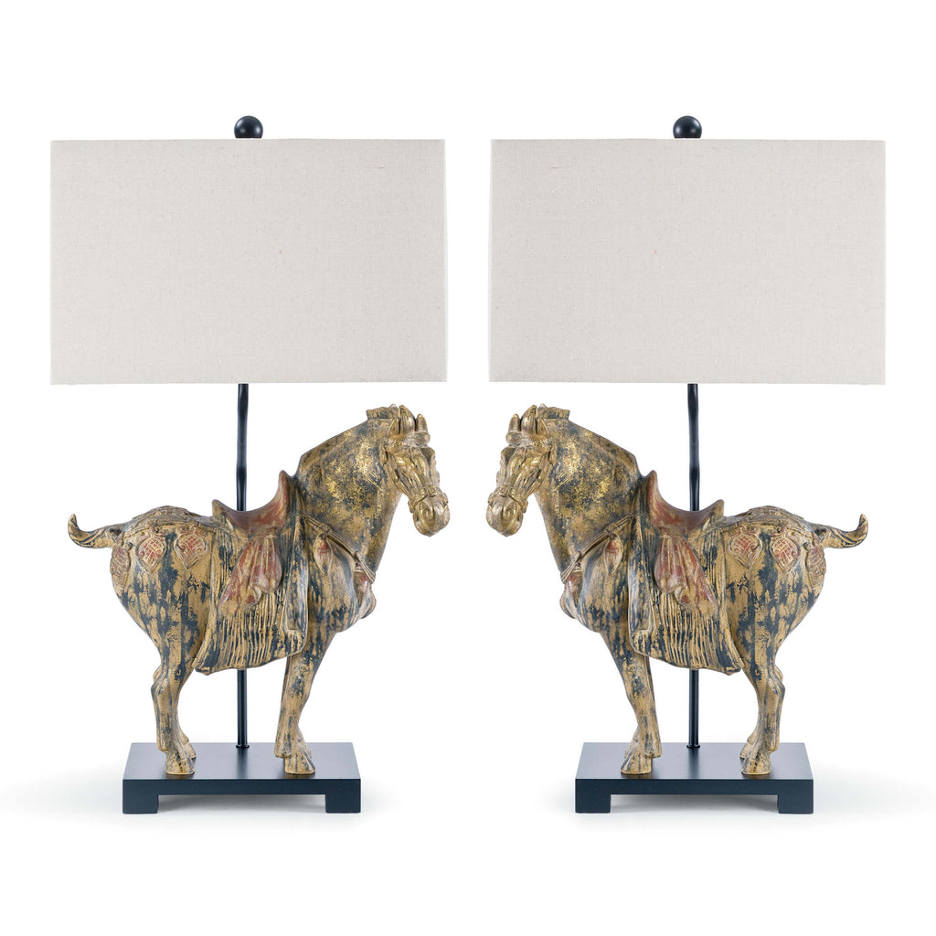 A pair of left and right facing table lamps, adding a touch of mid-century elegance to your space. Distressed detailing, antiqued glazing and topped with rectangle oatmeal shade, complete the vintage look.