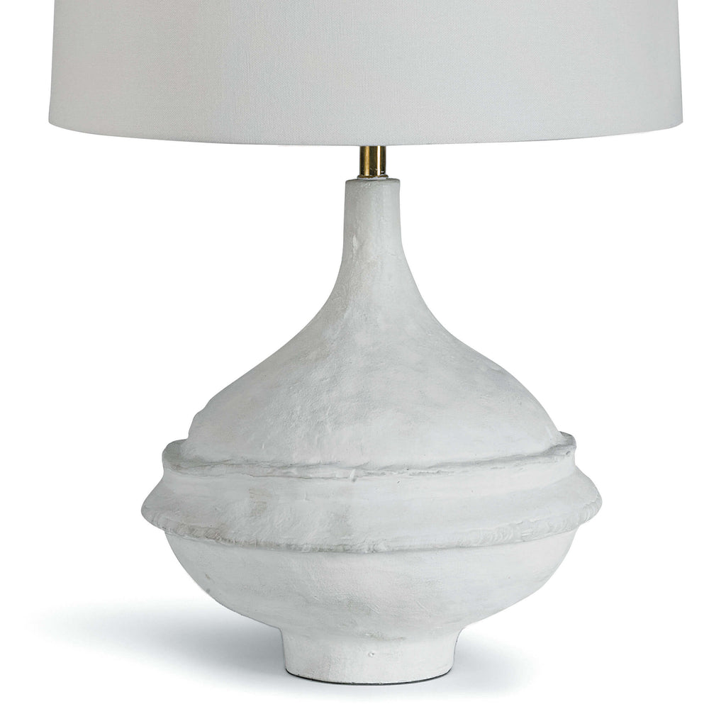 Inspired by a paper maché bowl, this versatile lamp is at home in a variety of spaces. Complex curves, paired with a matte white finish gives this table a unique appearance. Slight imperfections were left in, adding beauty and originality.