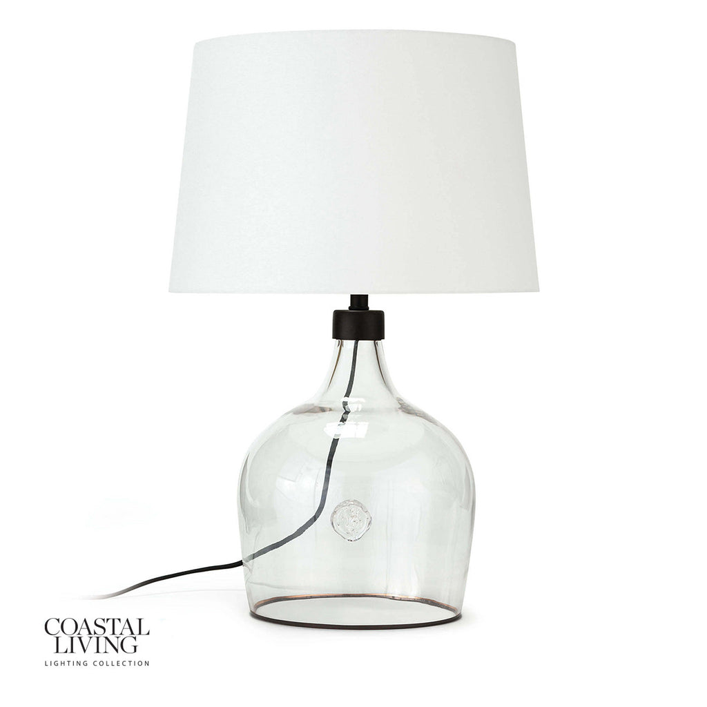 "We love the stunning glass vessel on this Demi John Small Table Lamp. Add this in your living room or bedroom to give the room some refreshing character.   Size: 15""w x 15""d x 24""h Material: Glass"