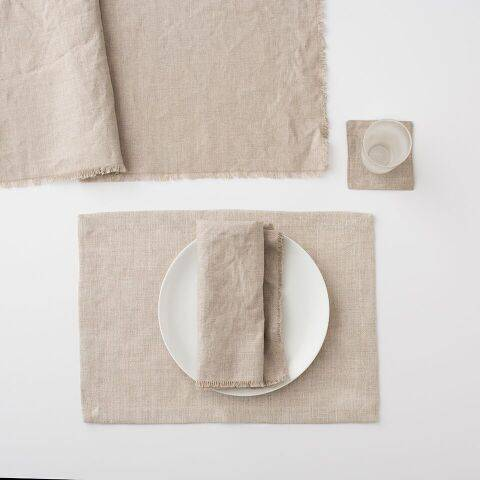 Everyday Linen Coaster Set - Oatmeal