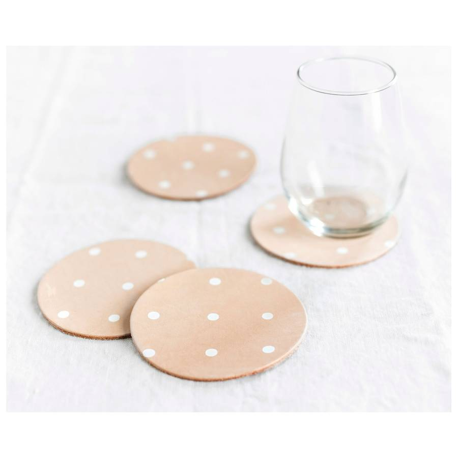 White Dots Leather Coasters