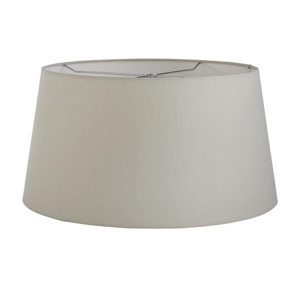 We took a minimalist approach when applying the reactive glaze on this classically designed table lamp. The light écru finished body is speckled with soft celadon markings that add subtle texture to the piece. Topped with a light gray cotton drum shade. Finish may vary.