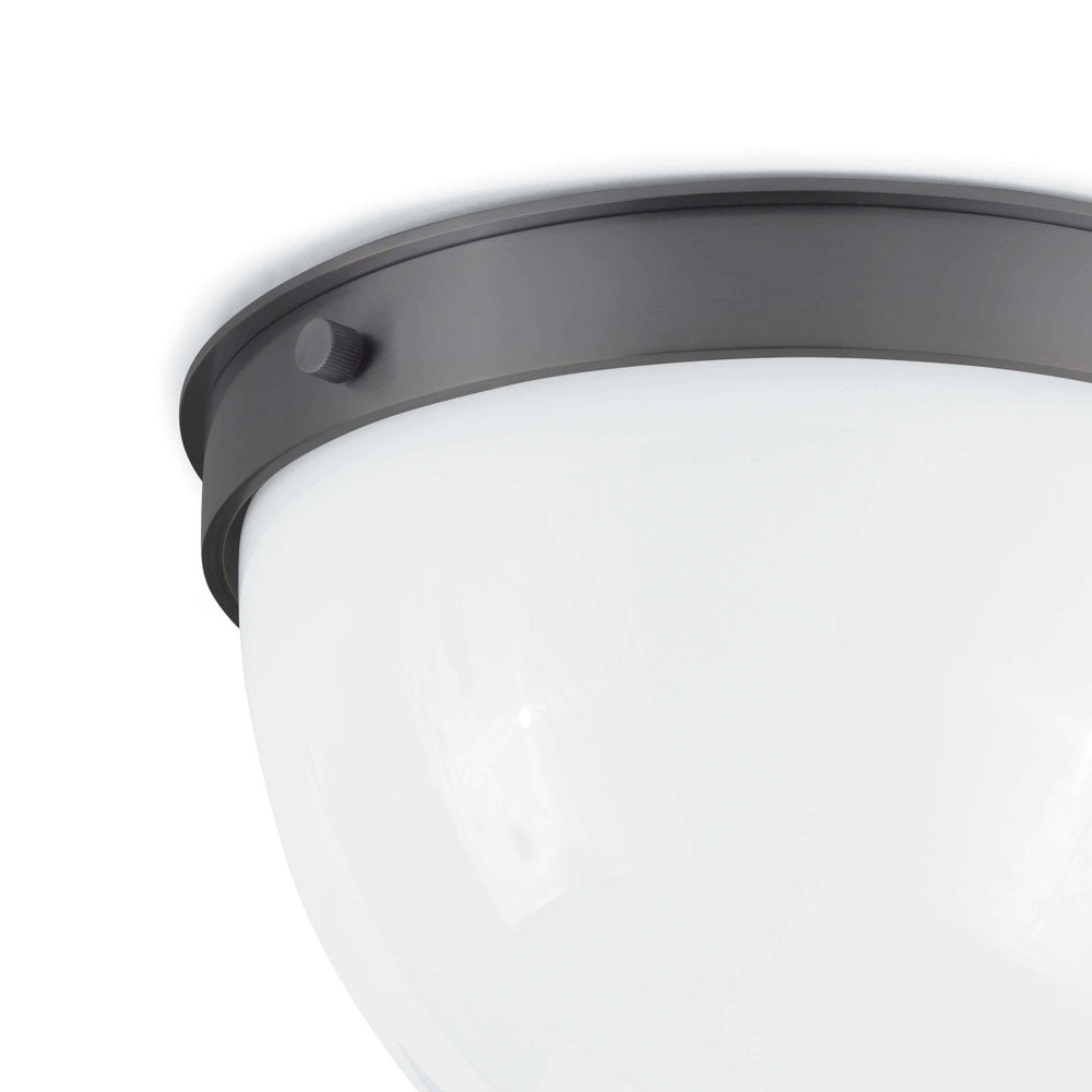 "We love the warm and glowing look the white opal glass gives when illuminated in this Bay Harbor Oil Rubbed Bronze Flush Mount. This would look stunning in areas with lower ceilings or in hallways.   Size: 11""w x 11""d x 7.5""h Material: Steel"