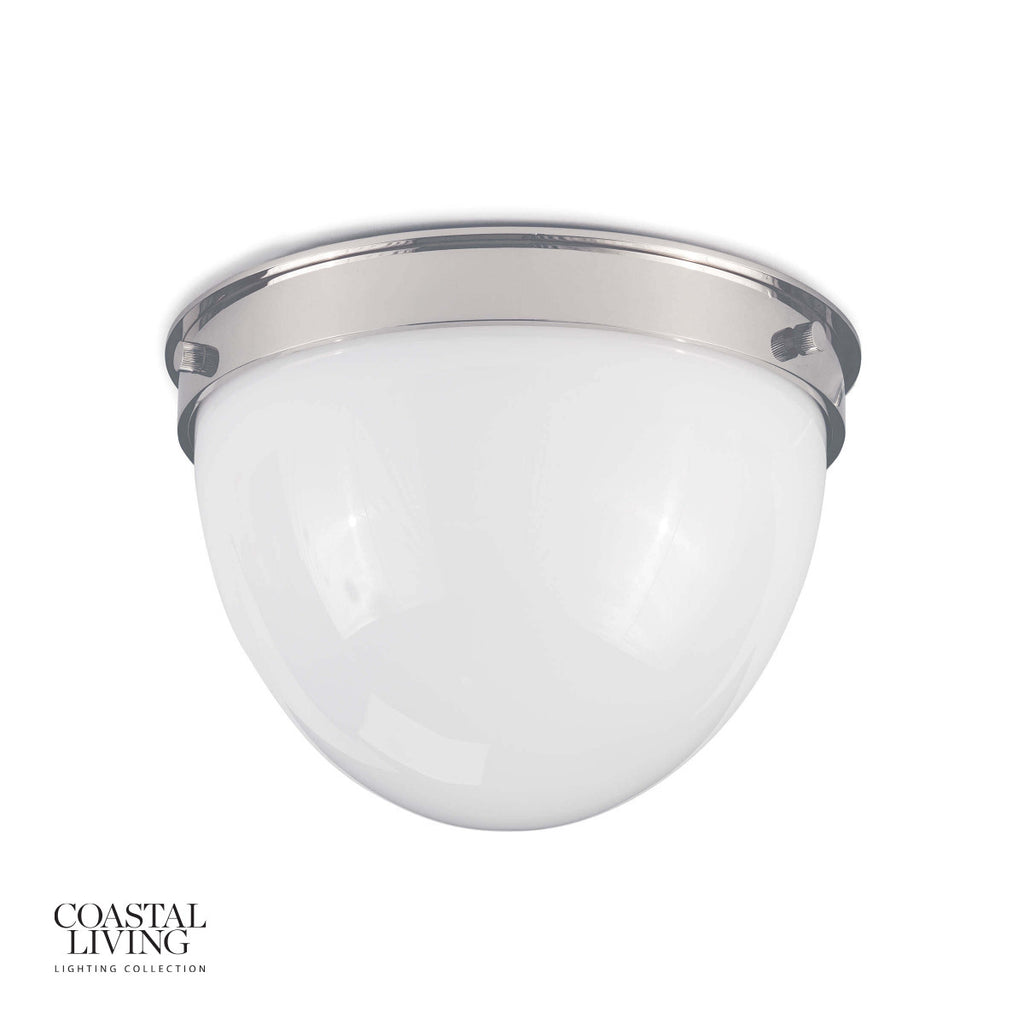 "We love the warm and glowing look the white opal glass gives when illuminated in this Bay Harbor Polished Nickel Flush Mount. This would look stunning in areas with lower ceilings or in hallways.   Size: 11""w x 11""d x 7.5""h Material: Steel"