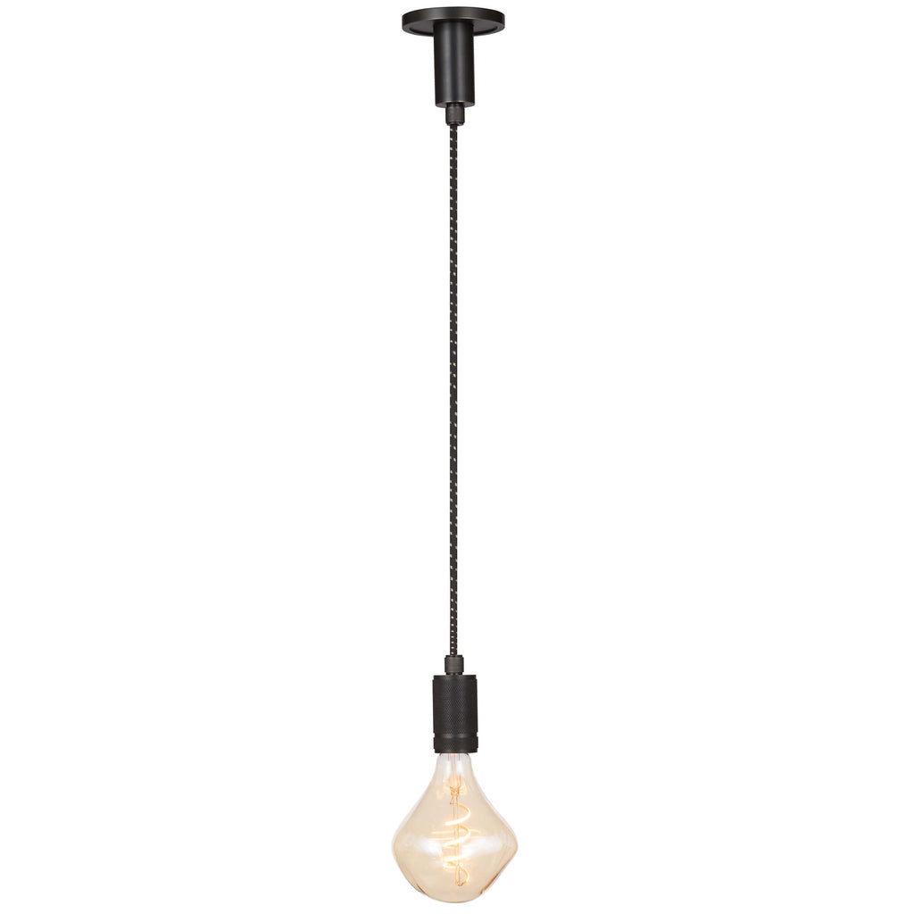 A cloth cord and steel canopy and socket give the urban Fillmore a mixed materials story. Create a cool statement by hanging this versatile pendant in multiples with vintage bulbs.