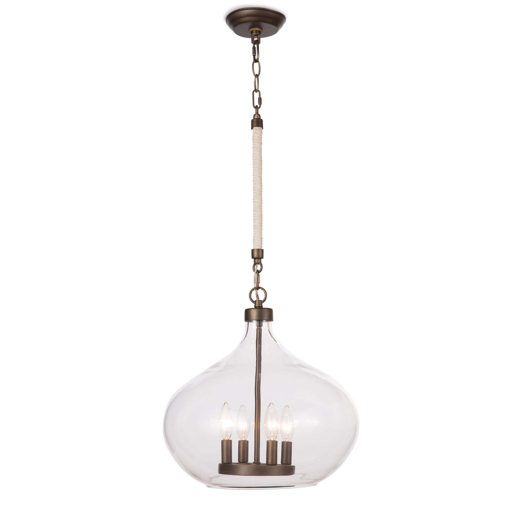 In the Dover pendant, a glass raindrop-shaped shade encases four candelabra bulbs. Wrapped rope on a portion of the chain provides a splash of coastal charm. Hang two side by side in a kitchen or bathroom for a modern but beachy statement. This pendant takes four E12 Candelabra light bulbs.