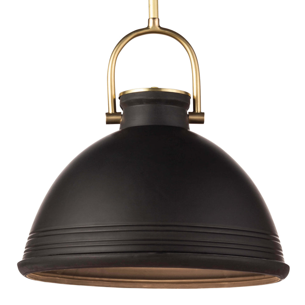 Classic lines combined with the hand touch of a potter make the ceramic Eloise pendant a statement piece for any kitchen or dining room. The glossy glaze and natural brass accents give It a coastal feel but it would also sing in a modern abode.