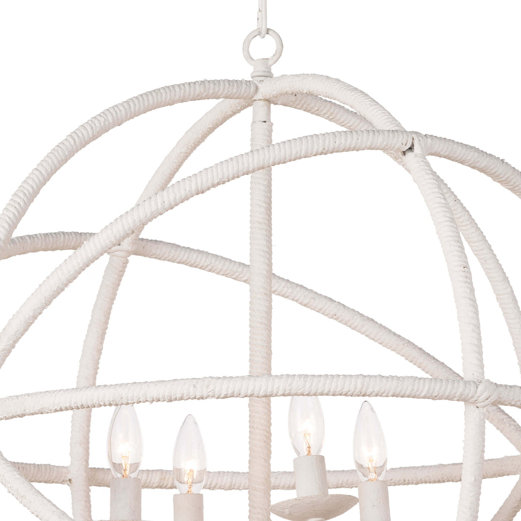 With rope look detailing in steel, Regatta provides a nautical nod in your decor. This four-light chandelier is light and airy, perfect for a coastal home.