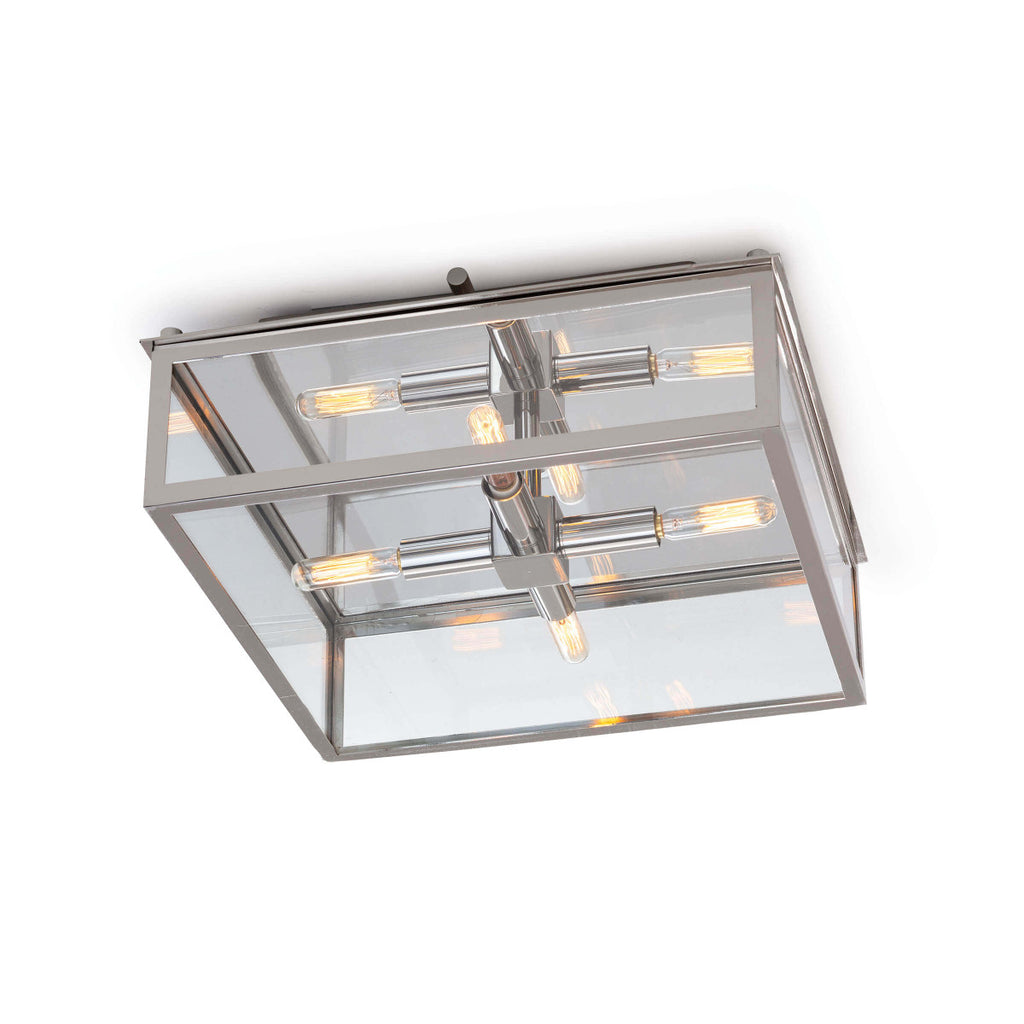 "The modern silhouette and classic details of the Ritz Polished Nickel Flush Mount make a timeless design. We love the warm glow and elegance this can bring to any bathroom, entryway, or hallway.   Size: 14.5""w x 14.5""d x 5.75""h Material: Glass"