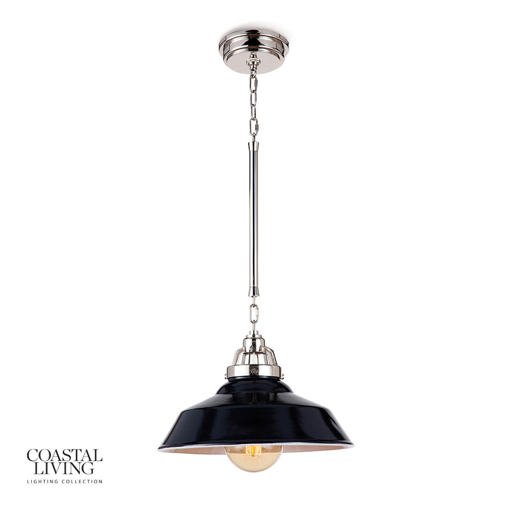 "The polished nickel hardware and ceramic shade of this Maine Navy Ceramic Pendant instills a contemporary edge. It brings an antique charm to any modern-day kitchen or dining room  Size: 16""w x 16""d x 15""h Material: Ceramic"