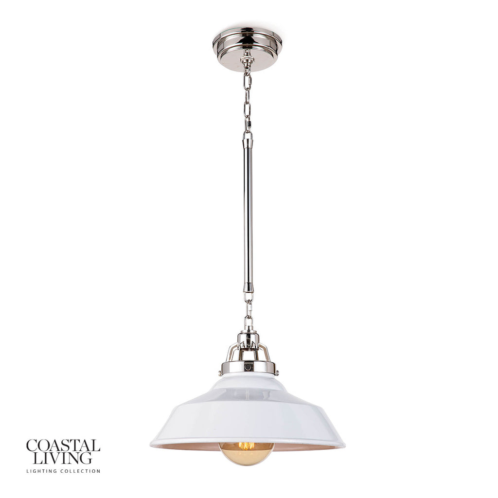 "The polished nickel hardware and ceramic shade of this Maine White Ceramic Pendant instills a contemporary edge. It brings an antique charm to any modern-day kitchen or dining room  Size: 16""w x 16""d x 15""h Material: Ceramic"
