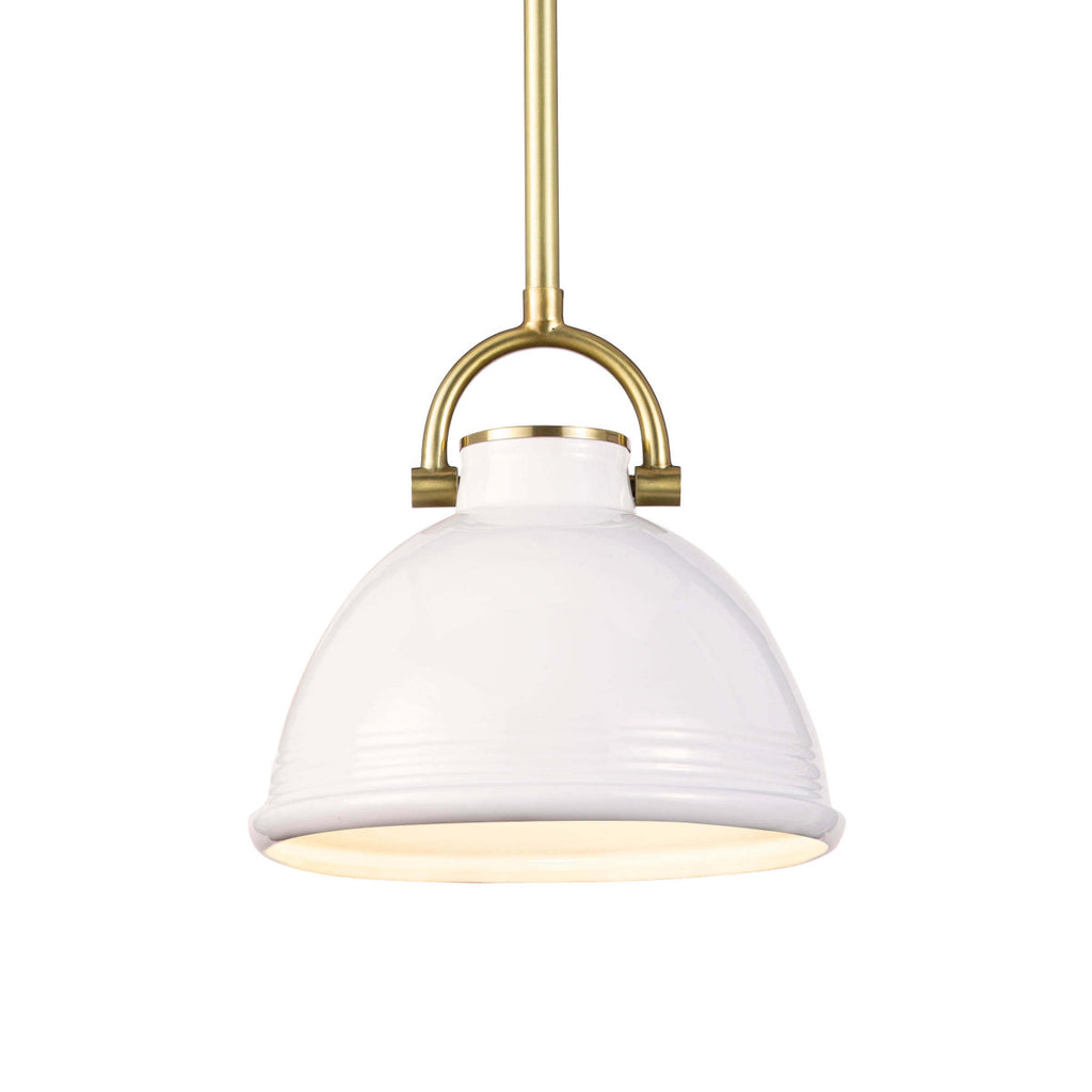 "The classic shape of the Eloise Small White Ceramic Pendant combines beauty and utility. The perfect lighting for your dream kitchen  Size: 9.5""w x 9.5""d x 21""h Material: Ceramic"