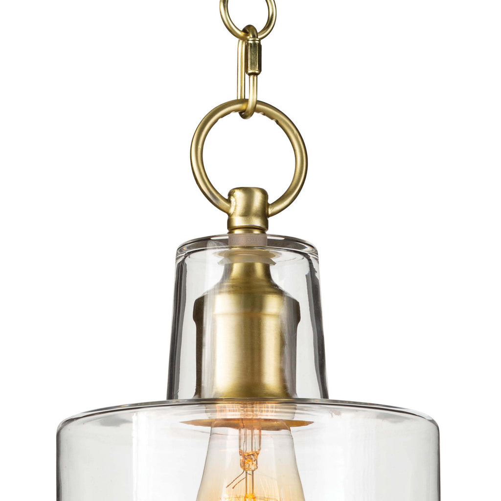 "The decorative circular chain, bell canopy, and stepped clear glass shade make this Dutch Natural Brass Glass Pendant a timeless classic.   Size: 6.75""w x 6.75""d x 16.5""h Material: Glass"