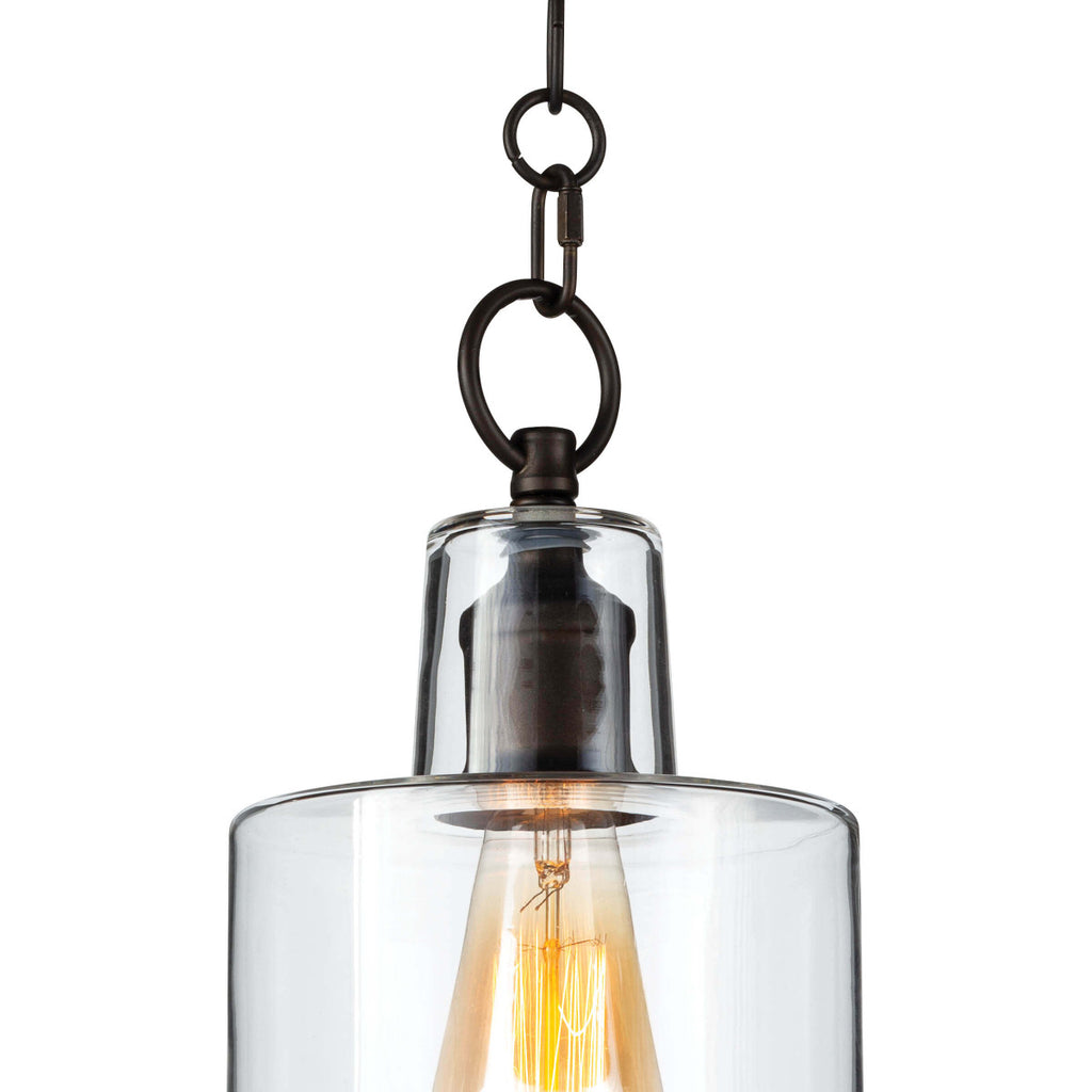 "The decorative circular chain, bell canopy, and stepped clear glass shade make this Dutch Oil Rubbed Bronze Glass Pendant Pendant a timeless classic.   Size: 6.75""w x 6.75""d x 16.5""h Material: Glass"