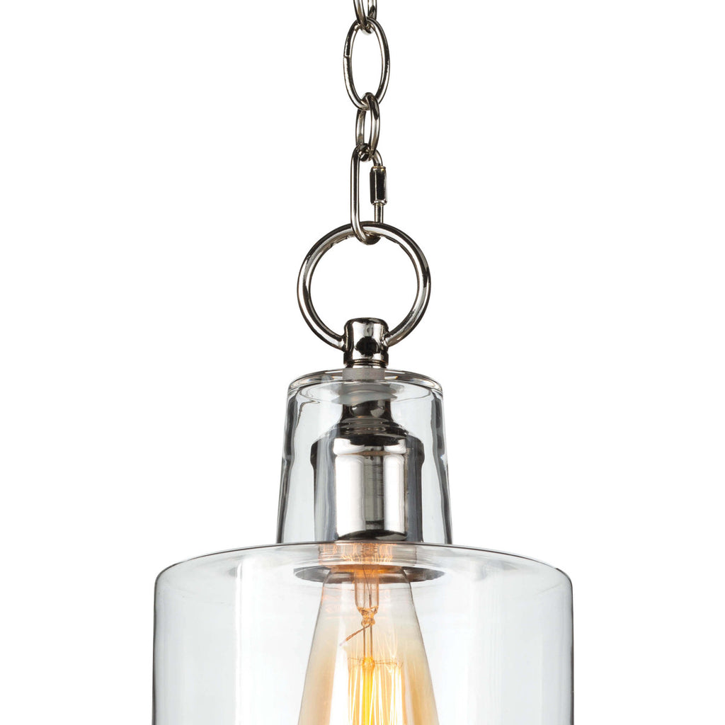 "The decorative circular chain, bell canopy, and stepped clear glass shade make this Dutch Polished Nickel Glass Pendant a timeless classic.   Size: 6.75""w x 6.75""d x 16.5""h Material: Glass"
