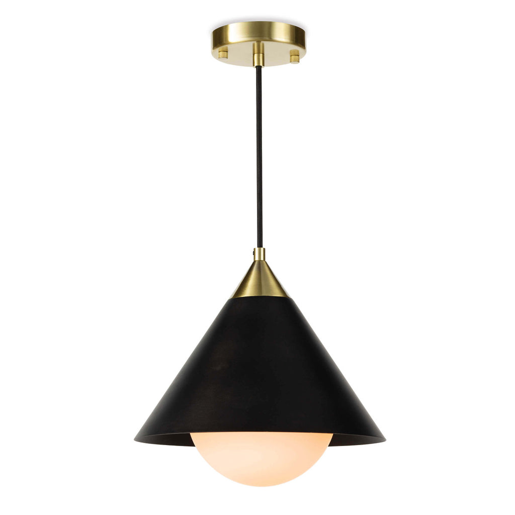 "The conical shade of the Hilton Black Pendant, matched with the milk glass globe create a subtle glow and elegant, modern pendant. Perfect for over a kitchen island or sink.   Size: 11.75""w x 11.75""d x 12""h Material: Iron"