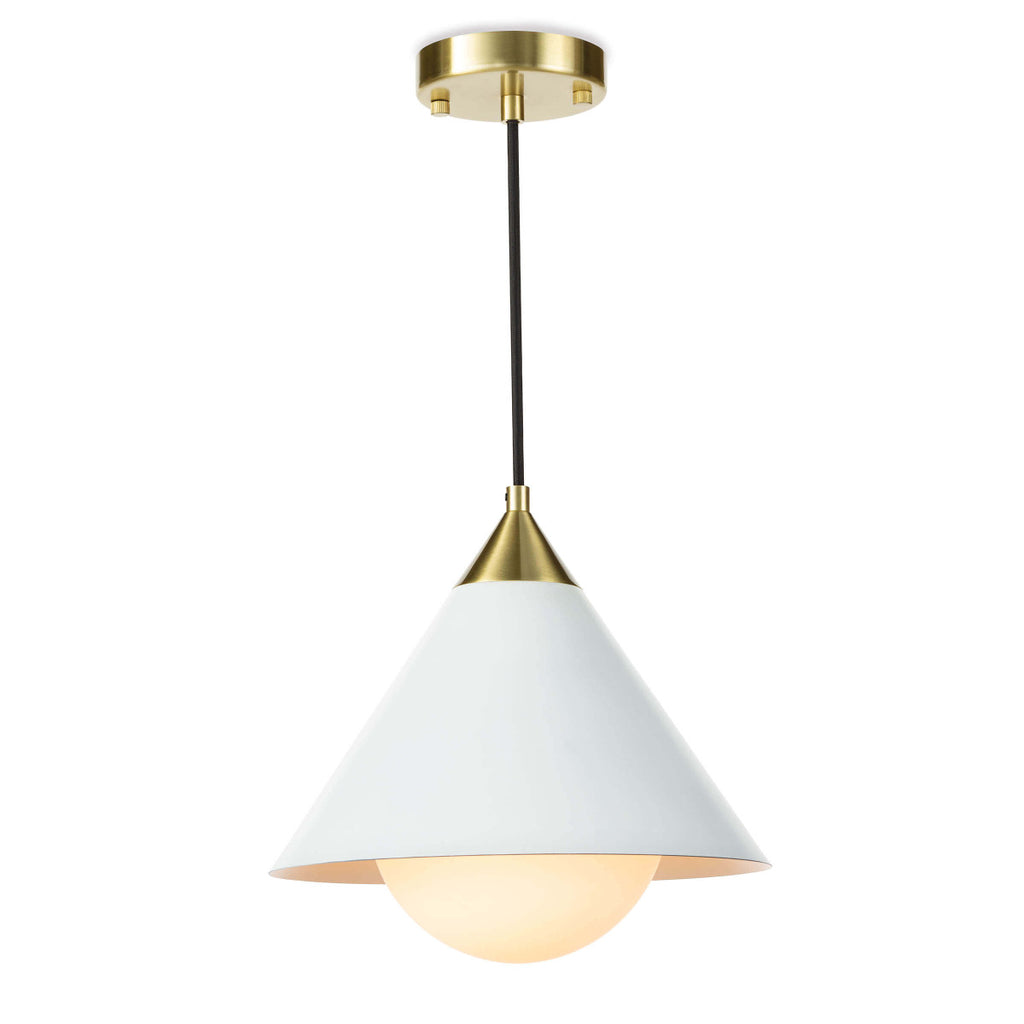 "The conical shade of the Hilton White Pendant, matched with the milk glass globe creates a subtle glow and elegant, modern pendant. Perfect for over a kitchen island or sink.   Size: 11.75""w x 11.75""d x 12""h Material: Iron"