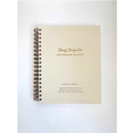 "These 2021 Monthly and Weekly Pressed Planner by Paper Barista's are made of 110 pages of smooth recycled paper. A gorgeous planner to keep your life on track  Size 7.5""x9.5"""