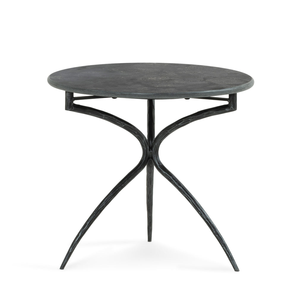 "Go bold with the Falco Bluestone Tall End Table. Finished in a powder black, slim, hammered legs strike a uniquely architectural pose to support a solid bluestone top – together forming a light look with ample presence.  Size: 19.75""w x 19.75""d x 17.75""h Materials: Iron, Bluestone"