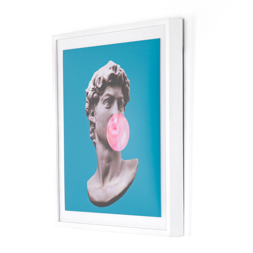 "Make a fun, pop art-inspired statement with the Bubble Yum by Teague Collection. Printed on watercolor paper and framed within white-finished maple as part of a specially curated collection by Four Hands Art Studio. Handmade in Austin, Texas. Please allow 3-4 weeks for production and shipment.   Size: 30""w x 3.5""d x 30""h Materials: American Maple, Paper"