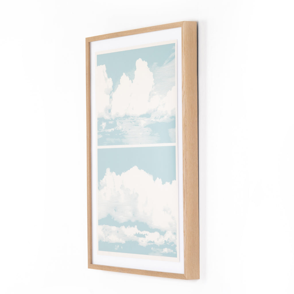 "Retro Clouds by Teague Collection bring serenity to the wall. Printed on watercolor paper with natural oak framing as part of a specially curated collection by Four Hands Art Studio. Handmade in Austin, Texas. Please allow 3-4 weeks for production and shipment.   Size: 40""w x 2.5""d x 30""h Materials: American Oak, Paper"
