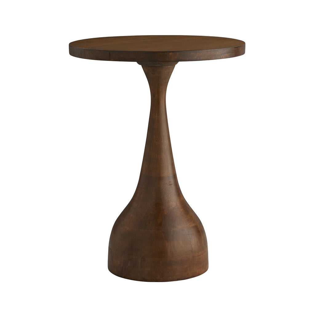 A sculptural accent table with teardrop base design and round top in a dark walnut finish. Each table is hand-crafted producing tables that slightly vary.